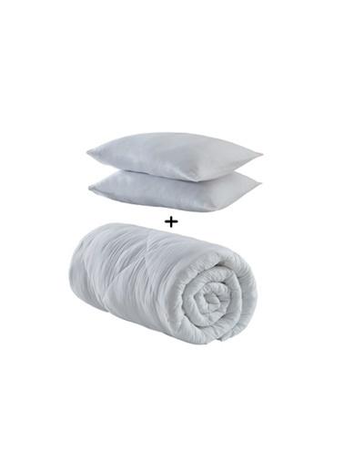 Komfort Home Çift Kişilik Microfiber Yazlık İnce Yorgan +2 Yastık Beyaz